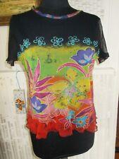 Tee shirt polyamide voile imprimé fleurs doublé noir CHRISTINE LAURE T.2 40/42