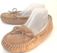 Minnetonka Womens Shoes Moccasins 4032 US 8 Brown Suede Faux Fur Lined Slippers