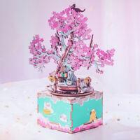 Rolife Holzspieluhr Spielzeug DIY Geschenk für Mädchen Frauen Kinder Kirschblüte