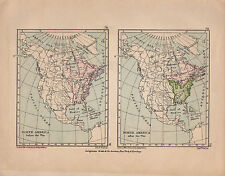1899 VICTORIAN HISTORICAL MAP NORTH AMERICA BRITISH TERRITORY BEFORE & AFTER WAR