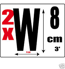 lot 2 lettres [W] Sticker autocollant noir hauteur 8cm Lettre adhésive en vinyle