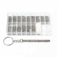 1000 Stueck Mini Schrauben fuer Brille Uhren Schraube + Schraubendreher Wer S8Q4