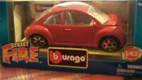 DIECAST MODEL CAR BBURAGO  SCALE 1:43 STREET FIRE RED VW VOLKSWAGEN BEETLE