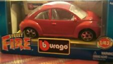 DIECAST MODEL CAR BBURAGO  SCALE 1:43 STREET FIRE RED VW VOLKSWAGEN BEETLE
