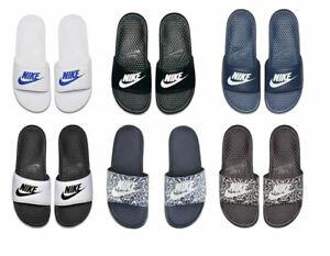 Nike Mens Summer Benassi JDI Flip Flops Sliders Black/White/Navy