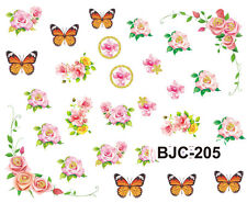 Orange Butterflies Pink Roses Flowers Water Transfer Nail Art Stickers Decals