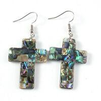"""Cross Design Genuine Handmade Abalone Shell Gems Silver Dangle Hook Earrings 2"""""""