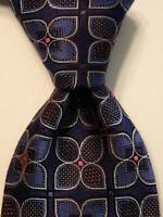 ERMENEGILDO ZEGNA Men's 100% Silk Necktie ITALY Luxury Geometric Blue/Brown EUC