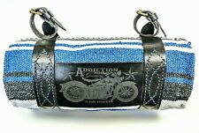 Motorcycle Bedroll Mexican Blanket with handmade engraved leather Strap Harness
