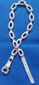 "Michael Kors Women's White Leather Belt  Size xl  46"" long, Chain Link Style"
