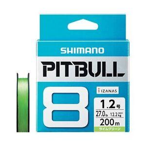 Shimano Pitbull X8 Lime Green 200m 27.0lb(12.2kg) #1.2 Braided PE Line japan