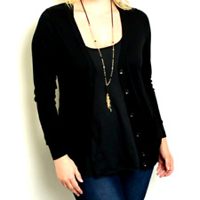 Womens Shop The Trends Plussize Black Cardigan Casual Button Down Sweater XLARGE