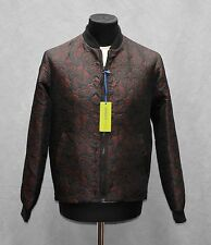 H5 NEW VERSACE JEANS Bleu Notte Embroidered Bomber Jacket Size It 48 US S $595