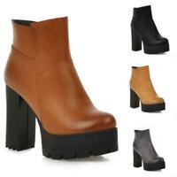 New Womens Zip Platform Ankle Riding Boots Block High Heels Nightclub Punk Shoes