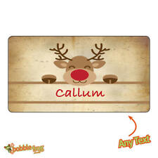24 x Personalised Christmas gift labels tags Kraft Stickers Reindeer Seals -1110