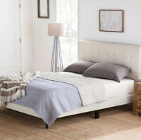 PLATFORM BED FRAME King Size Cream Upholstered Fabric Headboard Square Tufted