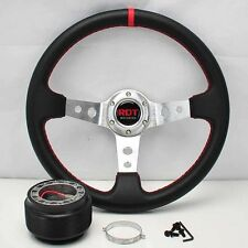 "SILVER DEEP DISH 13.5"" STEERING WHEEL +HUB FOR 90-93 INTEGRA 88-91 CIVIC CRX"