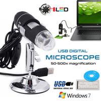 1000X 8 LED USB 2.0 Digital Microscope Endoscope Zoom Camera Magnifier+Stand 2MP