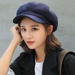 Women Wool Blend Berets Beanies Cap Hats 8 Panel Baker Boy Flat Caps Newsboy Hat
