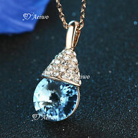 18K ROSE GOLD GF MADE WITH SWAROVSKI CRYSTAL FASHION PENDANT NECKLACE