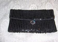 Vintage Norell Black Sequin Satin Clutch Evening Bag Purse Rhinestone Clasp