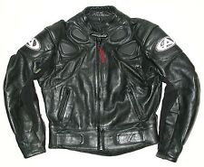 Men's Black Leather AGV Sport Motorcycle Biker Jacket, Sz 42