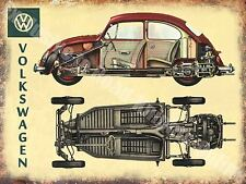 Vintage Garage 101, Classic Car Beetle Cut-Away Old Advert, Small Metal Tin Sign
