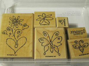 """Stampin Up! """"Merci"""" Heart, Flower, Butterfly, Bee  Rubber Stamp Set"""