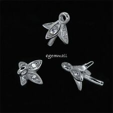 2 Sterling Silver CZ Flower Bead Cup Pin Pendant Bail Charm Connector #97431