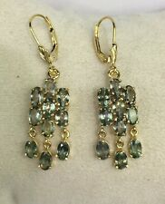 14k Solid Yellow Gold Leverback Dangle Earrings, Natural Light Green Sapphire
