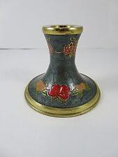 Single Vintage Brass Cloisonne Taper Dinner Candle Holder Fruit Theme