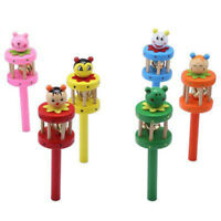 Baby Kids Cartoon Cute Shape Wooden Hand Bell Musical Funny Rattles Toys