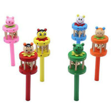 Lovely Wooden Cartoon Design Baby Hand Bell Musical Educational Toy Color Random