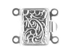 2 Fila Perla/Perla Collar de plata esterlina joyas broche captura de empuje