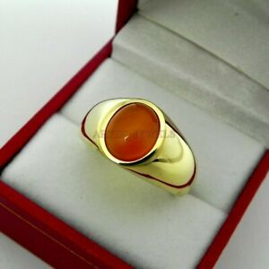 Natural Red Onyx Gemstone with Gold Plated 925 Sterling Silver Men's Ring #1323