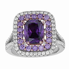 Unique .925 Sterling Silver Two Tone Simulated Amethyst Cluster CZ Ring