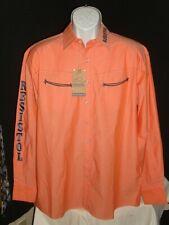 NWT Mens Resistol Playdium Marketing Logo Peach/Blue L/S Button Down Shirt Sz M