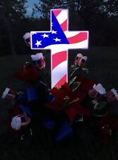 Solar American Flag Cross - Perfect Cemetery Decoration for Veterans - Lighted