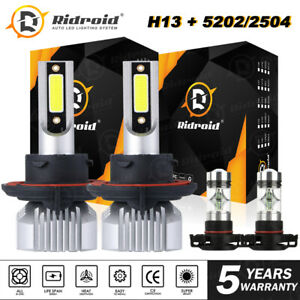 4x LED Headlight Combo Hi/Lo + Fog Light Bulbs For GMC 2007-2013 Yukon Denali