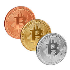 scarlet gifts Münze »Bitcoin Extra Heavy« Messing(24-Karat Gold, Silber, Kupfer)
