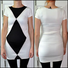FIGA  size UK8 womens white & black evening cocktail dress 95% Polyester 5% Elas