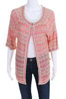 Cupio Womens Short Sleeve Chevron Cardigan Sweater Pink Beige Silk Size Small