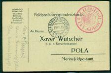 "1915, Hungary Naval card, ship ""BABENBERG"" red circular ship cancel, VF"