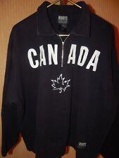 ROOTS Athletics (L) Jet Black/White CANADA Appliques and Leaf 1/4 Zip Sweatshirt