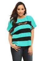 EUC Torrid Retro Boho Teal Green & Black Lace Stripe Dolman Crepe Top Plus Sz 3x