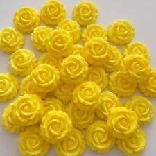 12 Rose Giallo Limone Fiori Pasta Di Zucchero Commestibili CUP CAKE DECORAZIONI Topper