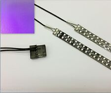 Viola PC MODDING LED Custodia Luce (Twin 40 cm Strisce) Molex Tails 60 cm Quad densità
