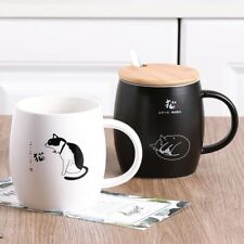 """Lazy Cat"" Cute Ceramic Mug Cup Coffee Cup with Lid Spoon Tea Milk Drinkware"