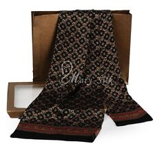 Brand New Mens 100% Silk Long Scarf Cravat Scarives Double Layered Black ●Mfg201