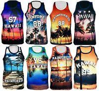 Mens Hawaii Mesh Net Vest Sleeveless T Shirt Summer Printed Basketball Sports